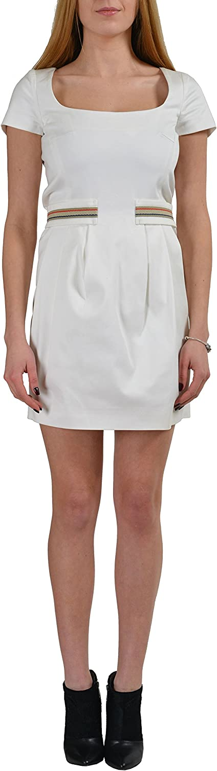 Dsquared2 Cream White Short Sleeves Women's Sheath Dress US S IT 40