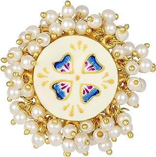 Aheli Ethnic Wedding Festive Designer Floral Enamel Adjustable Finger Ring Indian Traditional Fashion Statement Jewelry fo...