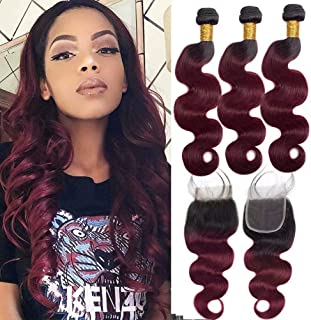 Black Rose Hair Two Tone Ombre Peruvian Body Wave Hair 3 Bundles with Closure 100% Human Hair Body Wave Bundles with 4x4 Lace Closure Hair Extensions 1b/99j Black+Burgundy Color(10 12 14+10