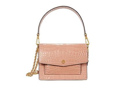 Tory Burch Robinson Embossed Double-Strap Convertible Shoulder Bag (Pink Moon) Handbags