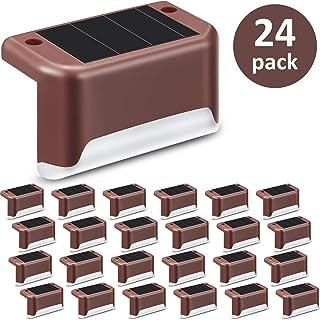 24 Piezas Luces de Cubierta Solar Luz de Paso Solar LED Resistente al Agua Lámpara de Poste de Valla de Alimentación para ...