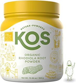 KOS Organic Rhodiola Root Powder - Natural Adaptogen Rhodiola Rosea Root Powder - USDA Organic, Improves Sleep, Decreases Stress & Anxiety, Pant Based Ingredient, 364g, 104 Servings