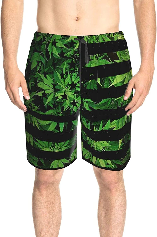 JINJUELS Men's Swim Trunks USA Flag Green Weed Leaves Swim Boardshorts Drawstring Elastic Surf Beach Shorts with Pockets
