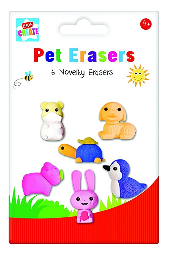 Anker Kids Create/Arts and Crafts Clip Animal Shaped Erasers, Plastic, Assorted Colour, 29.7 x 21 x 2 cm, Pack of 6