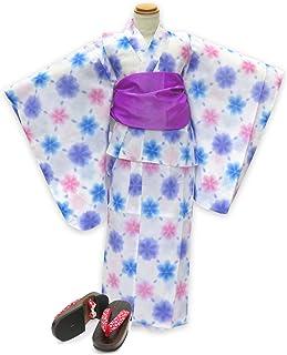 浴衣 こども 女の子 セット 式部浪漫ブランドの女の子浴衣 兵児帯 下駄 3点セット 110「白地 雪 ブルー」SRY11-B17-Mset