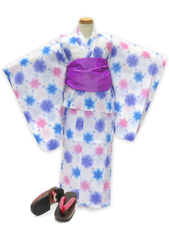 浴衣 こども 女の子 セット 式部浪漫ブランドの女の子浴衣 兵児帯 下駄 3点セット 100「白地 雪 ブルー」SRY10-B17-Mset