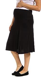 24seven Comfort Apparel Women's Maternity Flared Knee Length Skirt with Elastic Waistband - Made in USA - Medium - Black