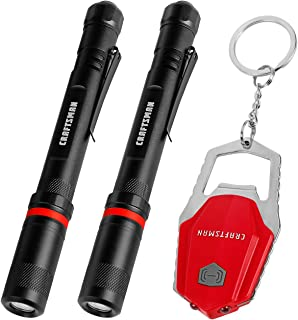 Craftsman Penlight and Keychain Flashlight Combo Kit, 2-pack LED Pen Flashlight and Key Ring Light with Bottle Opener, Batteries Included, CMXLFAG67064