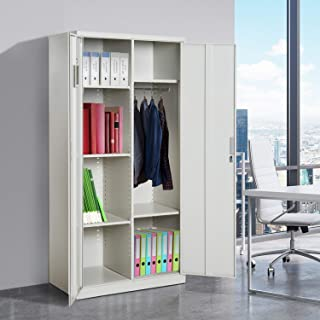 Tidyard 71 Inch Tall Office Cabinet with Wardrobe and Hanging Rack Steel Lockable Multifuctional Adjustable Shelves Storage Garage Cabinet Organizer Metal File Cabinet for Office Home Furniture