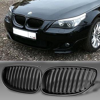 Anzio M-color Stripe Gloss Black HIPS Left Right Upper Front Kidney Grille Grill For BMW 2004-2010 E60 E61 5 Series Sedan