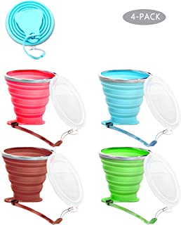 TLWDZ Silicone Collapsible Travel Cup Reusable, 4 Pack Silicone Folding Cup with Lids, Expandable Portable Drinking Mug for Camping Outdoor Hiking Picnic - BPA Free, (9.2 oz)