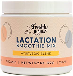 Freshly Moms Organic Lactation Smoothie Mix - Boost Breast Milk Supply - Ayurvedic Powder Drink Supplement - Add To Juices Smoothies Water Milk Cookie Mix Pancakes Brownies Treats - 24 Serving