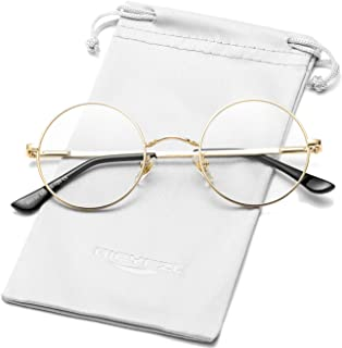 Vintage Small Round Metal Frame Clear Lens Glasses Women Men Non-Prescription Eyeglasses