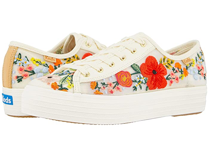 Keds  Triple Kick Embroidered Mesh (White Multi Embroidered Mesh) Womens Shoes