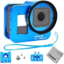 Gurmoir Case Aluminum Alloy Back Door Housing Frame for Gopro Hero 8 Black Action Camera, Wire connectable Protective Metal Side Open Shell with 52mm UV Filterfor Gopro Hero 8 (Blue)