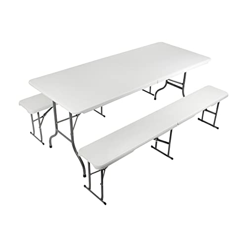 Le lot de mobilier de jardin Vanage en blanc – Table de brasserie + bancs Fred en plastique - Ensemble bancs et table de brasserie pliants et transportables – 2 bancs de brasserie et une table pliante par lot