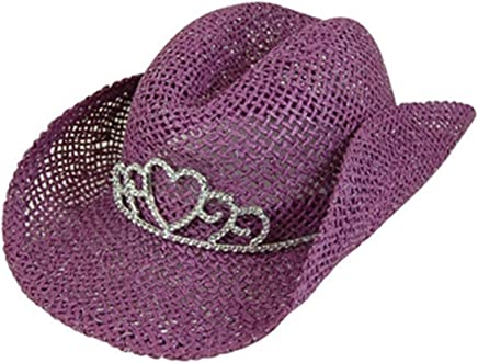 f3b2362a11c Handwoven Kids Straw Sparkly Cowboy Hat Girls Costume Tiara Cowgirl Party  Hat
