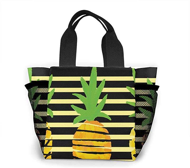 Abstract Pineapple Lunch Bag Insulated Lunch Box Tote For Women Men Adult Kids Teens Boys Teenage Girls Toddlers