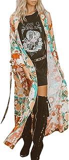 HongXander Womens Long Sleeve Chiffon Long Cardigan Shawl Floral Print Kimono Top Cover Up Beachwear with Belt