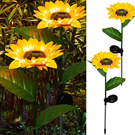 DAZZLE BRIGHT Sunflower Shape Solar LED Lights, 2 Pack Garden Waterproof Decorative with Stake for Outdoor Yard Pathway Outside Patio Lawn