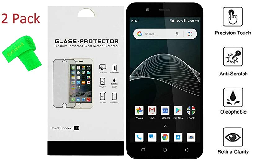 Alcatel Prepaid AT&T AXIA Cricket Vision 2 Pack Tempered Glass Screen Protector Guard + Extreme Band (Tempered Glass)