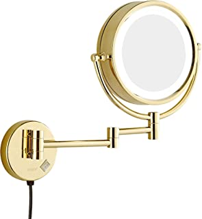 GURUN 8.5 Inch LED Lighted Wall Mount Makeup Mirror with 7X Magnification,Gold Finish M1809DJ(8.5in,7X)