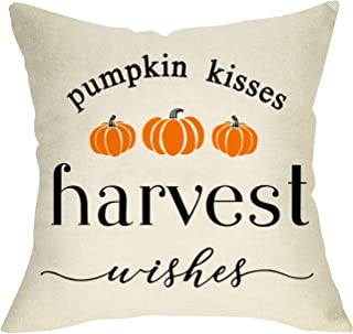 Softxpp Harvest Wishes Pumpkin Kisses Decorative Throw Pillow Cover, Farmhouse Quote Fall Cushion Case Seasonal Home Decorations Thanksgiving Square Pillowcase Autumn Decor for Sofa Couch 18 x 18 Inch