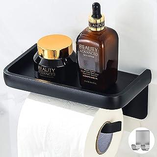 Toiletpapierhouder Zonder Boren Met Planchet, Zelfklevende Toiletpapierhouder + 1 Zelfklevende Handdoekhaak, Wandgemonteer...