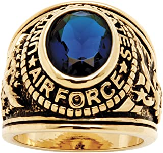 Men's 14K Yellow Gold Plated Antiqued Oval Cut Simulated Blue Sapphire United States Air Force Ring