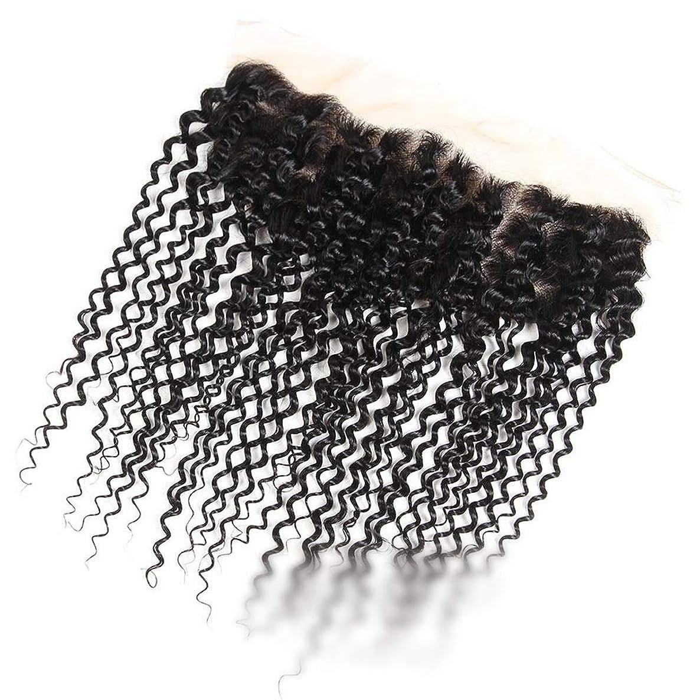 雄弁家セラフ区別Mayalina ブラジルのジェリーカーリーウェーブ人間の髪の毛の自由な部分13×4インチレース前頭閉鎖ナチュラルカラーショートウィッグショートカーリーウィッグ (色 : 黒, サイズ : 12 inch)