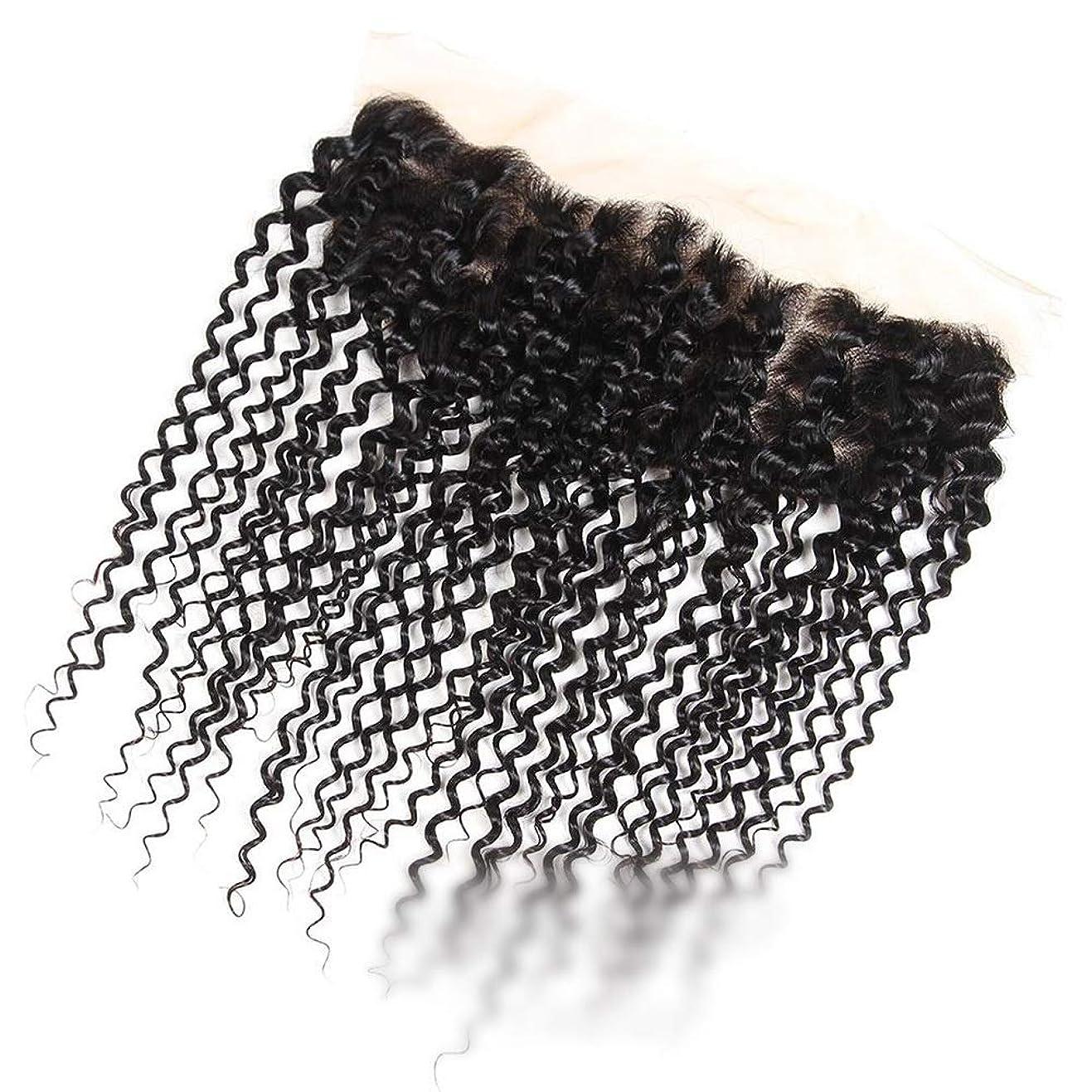 たまに一過性ヘルメットBOBIDYEE ブラジルのジェリーカーリーウェーブ人間の髪の毛の自由な部分13×4インチレース前頭閉鎖ナチュラルカラーショートウィッグショートカーリーウィッグ (色 : 黒, サイズ : 8 inch)