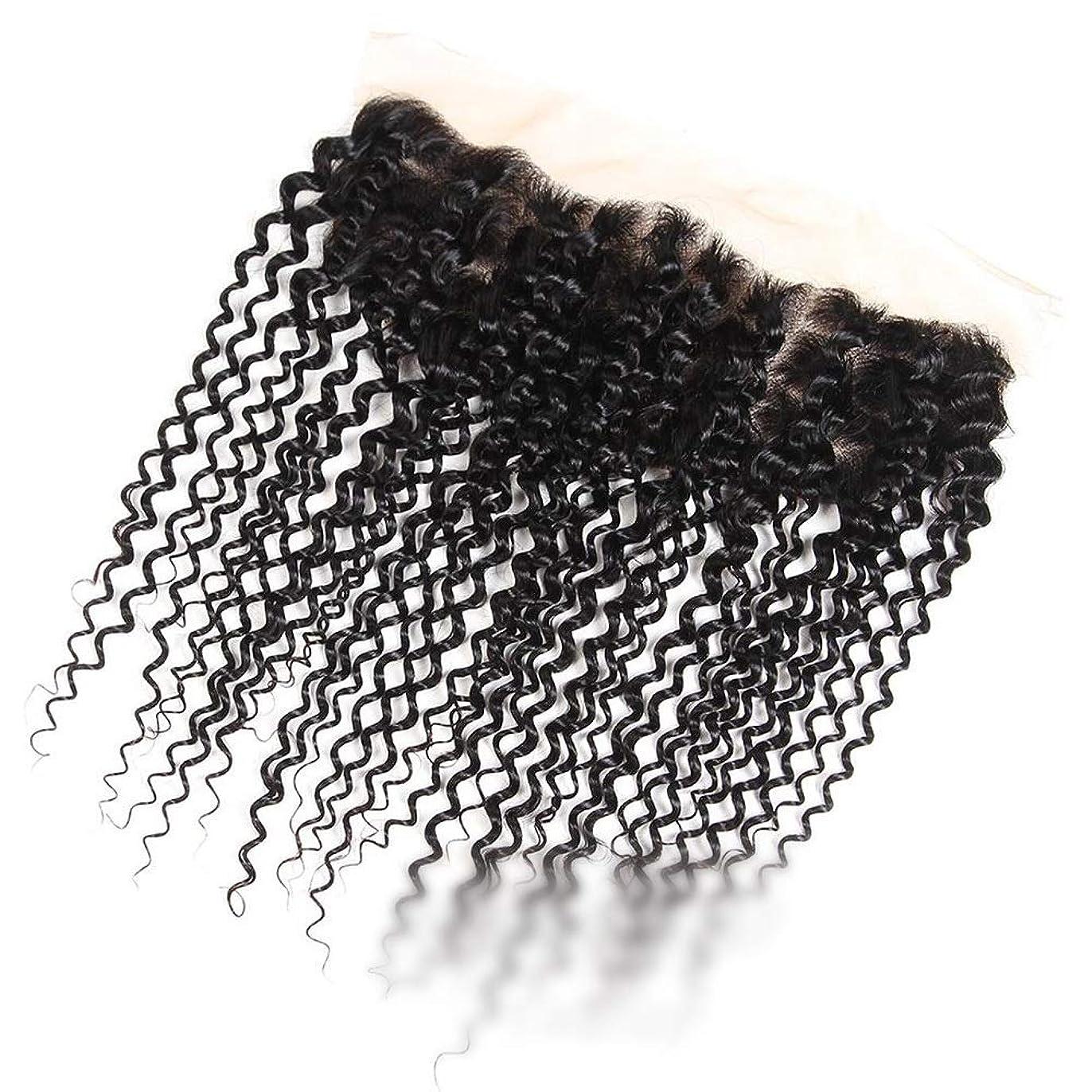 リーダーシップエレベーターボイコットYAHONGOE ブラジルのジェリーカーリーウェーブ人間の髪の毛の自由な部分13×4インチレース前頭閉鎖ナチュラルカラーショートウィッグショートカーリーウィッグ (色 : 黒, サイズ : 16 inch)
