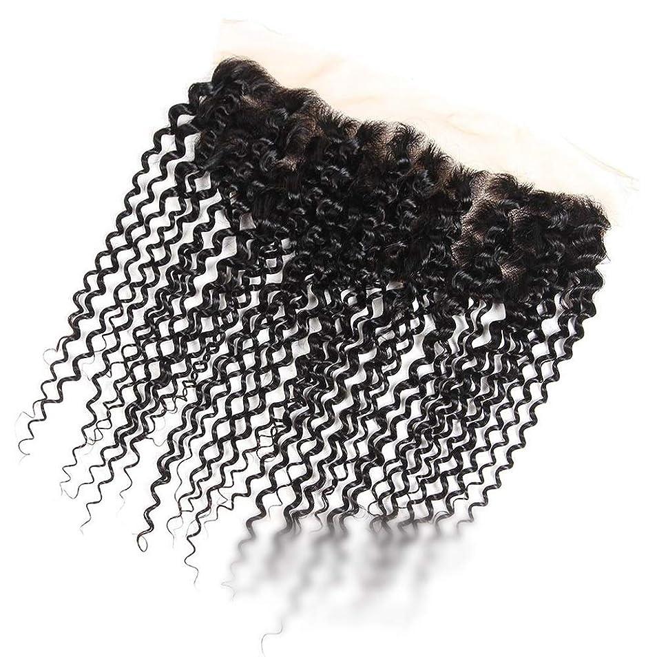 民主党キャンディー九月ブラジルのジェリーカーリーウェーブ人間の髪の毛無料パーツ13×4インチレース前頭閉鎖ナチュラルカラー髪 モデリングツール (色 : 黒, サイズ : 10 inch)