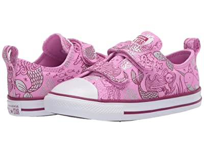 Converse Kids Chuck Taylor(r) All Star(r) 2V Mermaid (Infant/Toddler) (Peony Pink/Rose Maroon/White) Girl