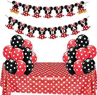 JOYMEMO Minnie Themed Party Supplies Red and Black for Girls Happy Birthday Banner Polka Dot Balloons Tablecloth for Birthday Party, Baby Shower Decorations