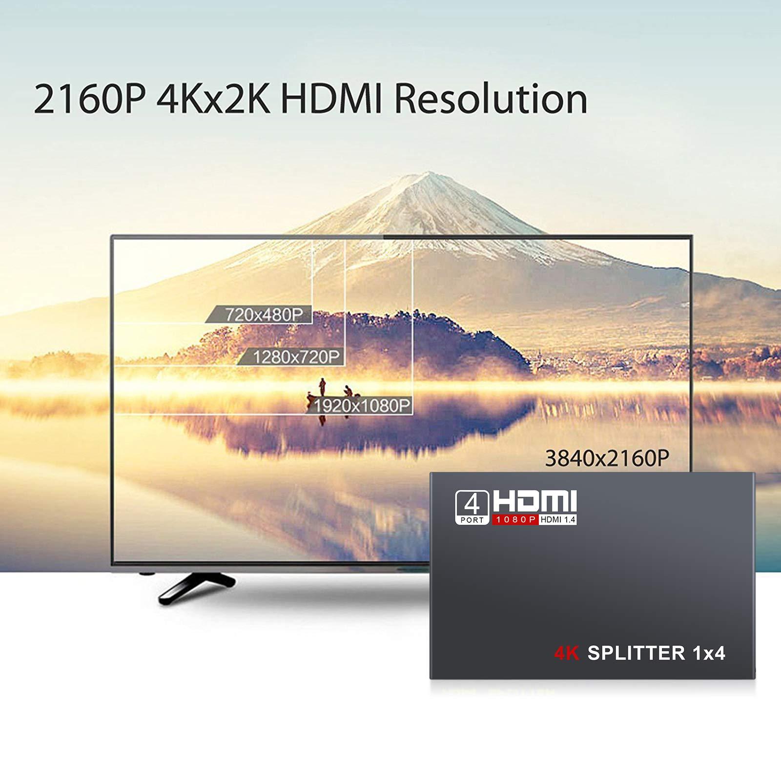 AUTOUTLET - Divisor HDMI 1 en 4 Salidas, V1.4 Powered 1x4 Puertos Box soporta Full Ultra HD 1080P 4K/2K y resoluciones 3D con PC STB PS3 Roku BLU-Ray Player HDTV: Amazon.es: Electrónica