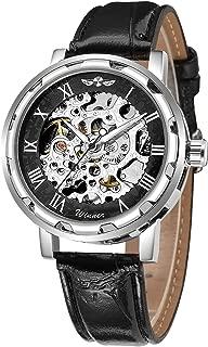 Gute Classic Skeleton Watch Unisex Steampunk Auto Self Wind Wrist Watch - Black Dial Silver Watch Case