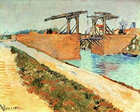 AED50-2000 Hand Painted Art Paintings of Vincent van Gogh The Langlois Bridge at Arles with Road Alongside the Canal Oil Painting Reproduction on Canvas Old-5 Famous -16 x 20 Inches