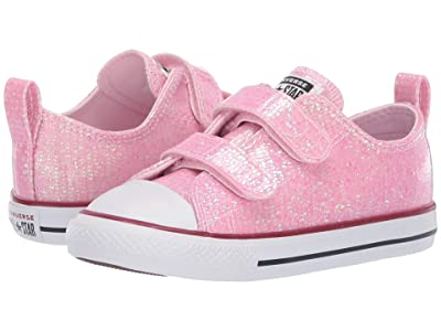 Converse Kids Chuck Taylor All Star 2V Sparkle Ox (Infant/Toddler) (Pink Foam/Enamel Red/White) Girls Shoes