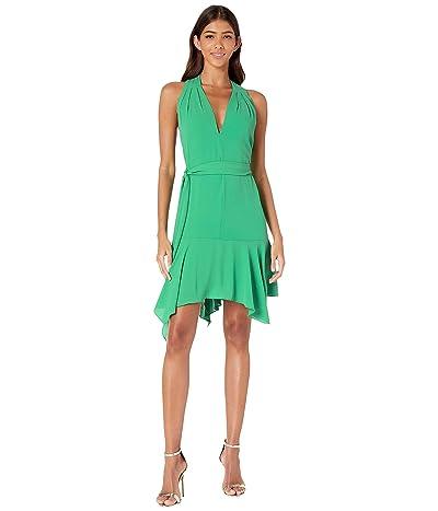 Halston Heritage Sleeveless V-Neck Dress w/ Sash (Jade) Women