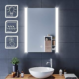 SIRHONA Miroir LED 60x80 cm Miroir de Salle de Bains avec éclairage LED Miroir Cosmétiques Mural Lumière Illumination avec...