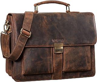 """STILORD Eros"""" Aktentasche Leder 15,6 Zoll Laptoptasche Business Umhängetasche Große Arbeitstasche XL Vintage Ledertasche mit Dreifachtrenner"""