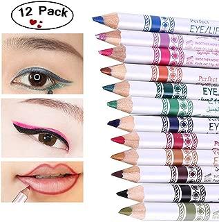 Shouhengda 12pcs/set Glitter Eyeshadow Pen Waterproof Colorful Eye Liner Pencil Lip Eyeliner Shimmer Nude Makeup Kit
