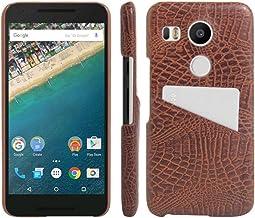 Nexus 5X Funda, HL hermanos [ranura de tarjeta] carcasa para LG Nexus 5X, Premium [Ultra Slim] cocodrilo ligero Funda de piel carcasa para Google Nexus 5X smartphone, piel sintética, Card Slot Brown, For Nexus 5X