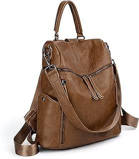 UTO Women Backpack Purse PU Washed Leather 3 Ways Ladies Rucksack Zipper Shoulder Bag