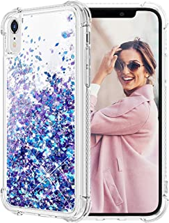 Caka iPhone XR Case, iPhone XR Glitter Case Shockproof Glitter Series Luxury Bling Fashion Flowing Liquid Floating Sparkle Soft TPU Clear Case for iPhone XR (Blue Purple)