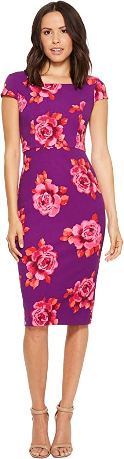 Donna Morgan Cap Sleeve Fitted Printed Crepe Sheath Dress