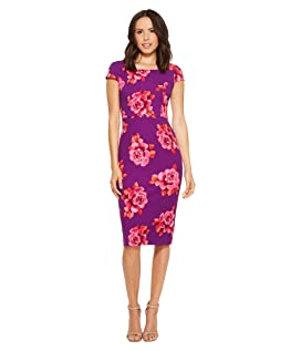 Cap Sleeve Fitted Printed Crepe Sheath Dress