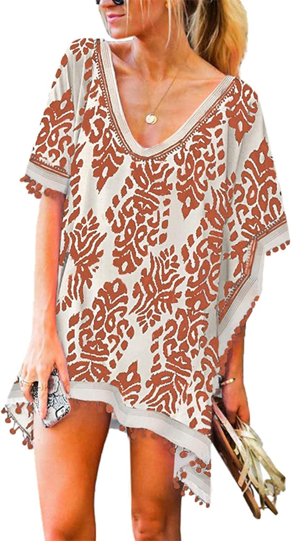 Stevemary Women's Printed V Neck Pom Pom Tassel Cover Up Beach Dress