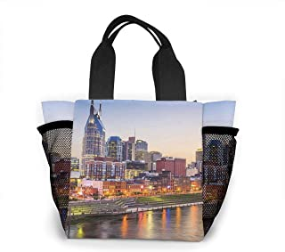 Boys Girls Insulated Neoprene Lunch Bag - Nashville Tote Handbag Lunchbox Food Container Pouch For School Work Office